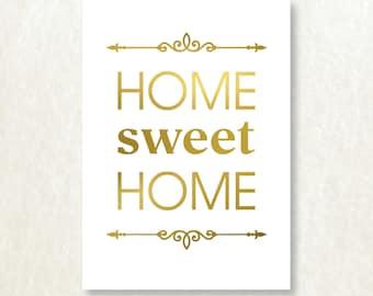 Home Sweet Home GENUINE FOIL 5x7 Art Print Trendy Modern Typography Home Wall Decor
