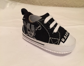 Loley pops newest creation raiders baby shoes - this creation is made by me and not affiliated with NFL