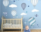 Hot Air Balloon Wall Decals feat. planes, white clouds and stars. Baby boys wall stickers. Blue nursery decor, April Showers, Toddler Room