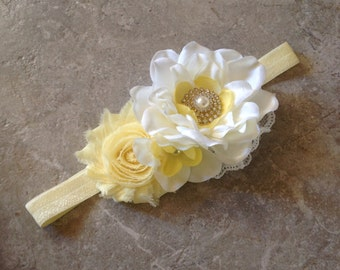 Baby headband, Baby Hair Bow, flower headband, flower girl headband, lace and chiffon headband, baby girl headband, hair bows