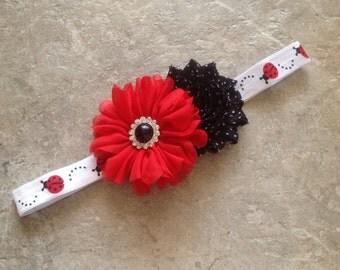 Lady bug headband, Baby Hair flower, flower headband, baby headbands, baby girl headband, hair bows, Lady bug