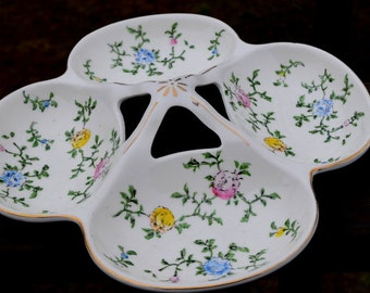 SALE - Vintage Four Section Floral Serving Dish