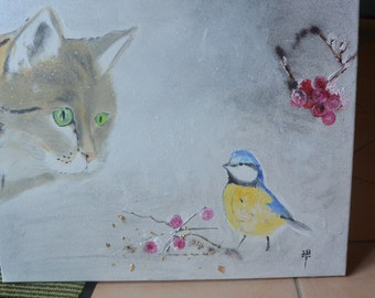 """painting """"Cat and tit"""" 55x48cm size"""