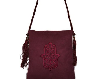 MOROCCAN Shoulder Bag  Handcraft with Fatima Embroidery/ messanger bag/ purse