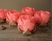 Coral Wedding Decor, 5 Rustic Chic Coral Table Flowers, Wedding Table Centerpiece, Rustic Table Decorations, Rustic Chic Wedding Flowers