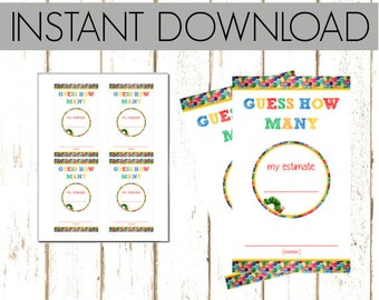 Baby Shower Estimate Cards - Eric Carle Hungry Caterpillar  - Instant Download & Printable