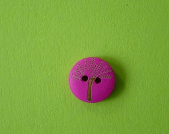Magenta wooden buttons with tree design.  Set of 10