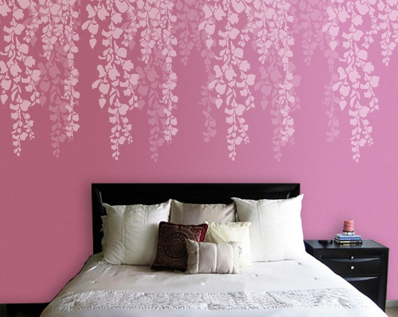 Tree stencil bedroom wall stencil cherry blossom stencil for What type of paint to use on bedroom walls