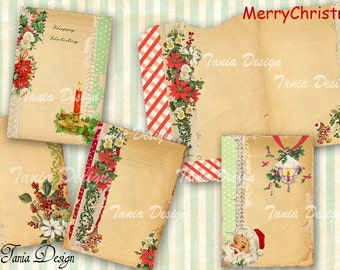 Christmas Holiday-Greeting card 3.5 x 5 inch-set of 4 cards and envelope Vintage Illustration-Printable Download Large Image