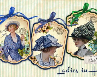 Ladies in hats -Gift Tags -Vintage Cards - Digital Collage Sheet - Digital Download