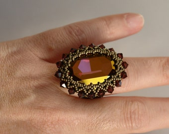 Beaded Ring Tutorial - 30x22mm Bezeled Cabochon - PDF Beading Pattern - Digital Download