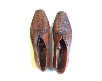 Brown Woven Leather Oxfords Made in Italy Size 9.5