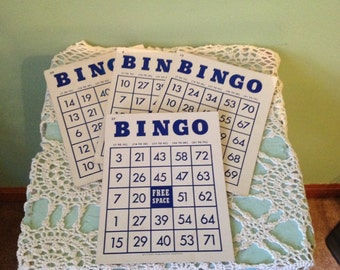 Set of 4 Vintage Bingo Cards