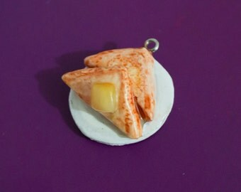Buttered Toast On A Plate Keyring