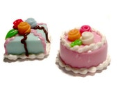 1:12 Dollhouse decoden Miniature Food  flower Cake set of 2
