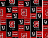 NCAA NC State University College Cotton Fabric! Go Wolfpack! [Choose Your Cut Size]