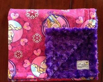 Frozen minky with Purple minky rose backing