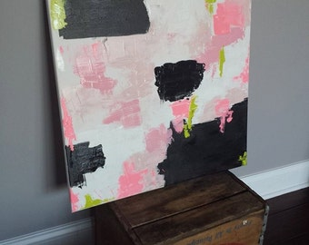 Pink Black White Acrylic Abstract painting 24x24