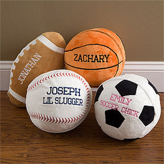Squishy Soccer Ball Pillow : Sports ball pillow personalized plush minky soft throw gift