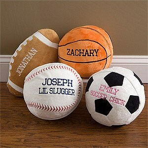 Sports Ball Pillow Personalized Plush Minky Soft Throw Gift