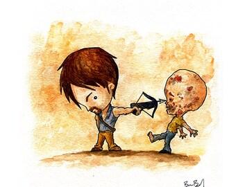 Daryl Walking Dead Watercolor Print