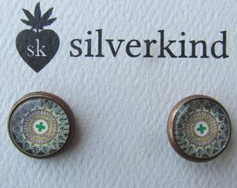 Medical Marijuana Mandala stud earrings - Cannabis marijuana pot leaf green cross by Silverkind