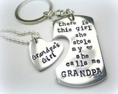 Personalized Handstamped Grandpa granddaughter keychain necklace - There is this girl she calls me grandpa