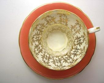 Aynsley Tea Cup and Saucer,  Aynsley Orange and Gold tea cup and saucer , Adobe Orange tea cup, English Fine bone China.