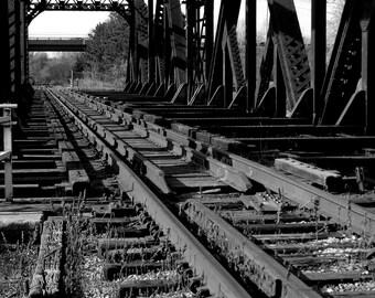 Historic Train Bridge, original photo, available sizes 8x10, 11x14, 16x20, 20x30, Fathers Day Gift, black and white photo, Canadian railroad
