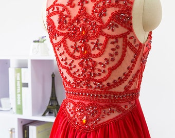 Red prom dress, formal dress, Floor Length evening dress, chiffon homecoming dress