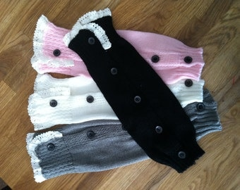 Little Girl Knit Leg warmers with Buttons
