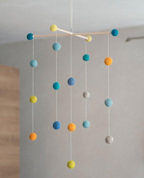 felt ball mobile turquoise. Black Bedroom Furniture Sets. Home Design Ideas
