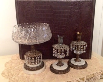3 piece Antique Candle Holder Set