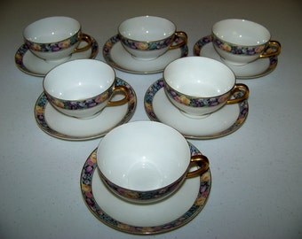 Thomas Bavaria1908-1939 Yellow Roses Purple Tulips & Flowers Set Of 6 Cups And Saucers