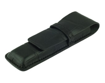 Leather Pen Case, Handmade, Black Crocodile Grain Leather, Fits 2 Pens