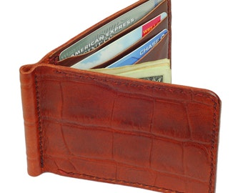 Mahogany Leather BiFold Money Clip Wallet, Cognac Leather Interior, Cognac Waxed Thread- Crocodile Grain Leather