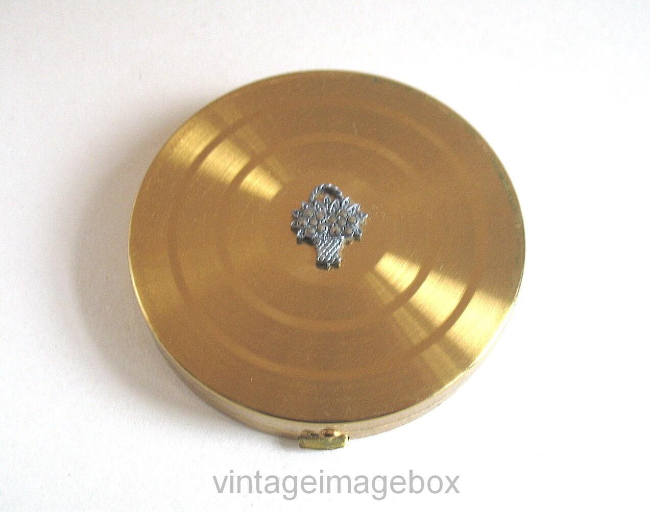 Margaret Rose Vintage Powder Compact Marcasite Flower Basket