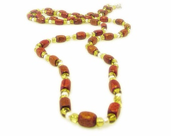 Wood, Yellow Glass and Pearl Beaded Necklace