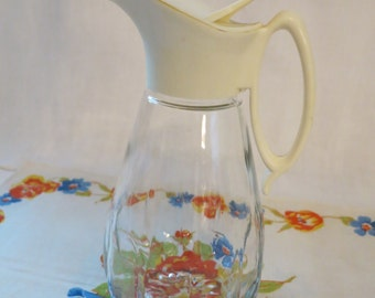 Vintage Clear Glass Syrup Pitcher-EPSTEAM