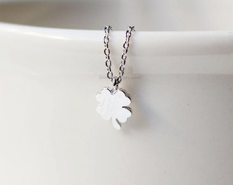 Tiny Four Leaf Clover silver Necklace- Sweet and Simple Shamrock for Good Luck, wedding gifts, bridesmaid gifts, birthday gifts, gift idas