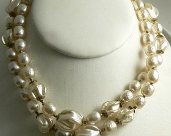 Fancy Extra Long Miriam Haskell Ruffled Baroque Pearl Necklace  Unique vintage, antique, costume and estate jewelry.