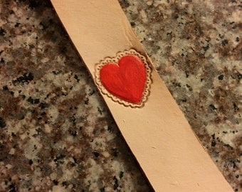 Heart Leather Bookmark - Valentine's Day