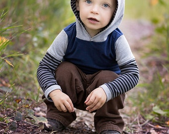 Boys Long Sleeve Hoodie.Boys Clothing..Boys Shirt..Children's Clothing.blue and gray.Stripes.Toddler Shirt12M-5T