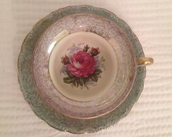 Beautiful Vintage Classic Rose Teacup and Saucer Japan EW-547 cup EW-548 saucer