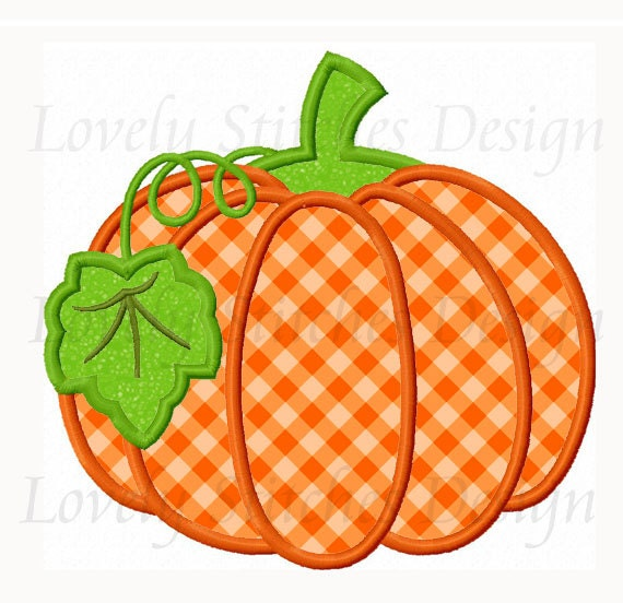 Thanksgiving pumpkin applique machine embroidery design