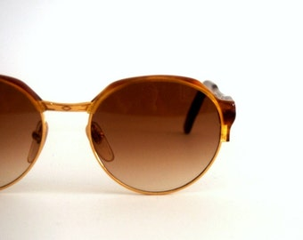 Vintage Sunglasses Lozza Metal Epoque Round Clubmaster Cool Steampunk Celluloid, Made in Italy. NOS