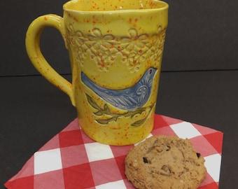 Large Blue Bird Coffee Mug, Hand Built Ceramic Stoneware Mug