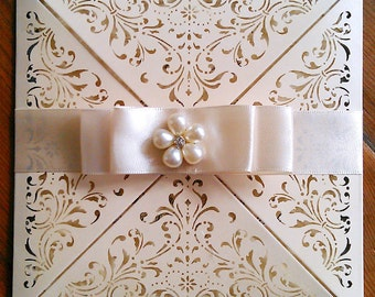 "Vintage Ivory Laser Cut Wedding Invitation ""Nellie"" a Luxury Bespoke Invitation"