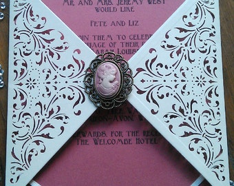 Vintage Ivory Victorian Rose Cameo Wedding Invitation Laser Cut Hand Made