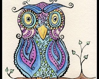 Blue Owl Illustration, Owl Illustration - Illustrated Owl - Purple Blue Owl - Illustration Print